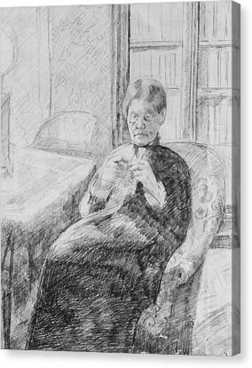 Old Woman Knitting Canvas Print by Mary Cassatt