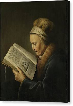 Old Woman Reading Canvas Print by Gerard Dou