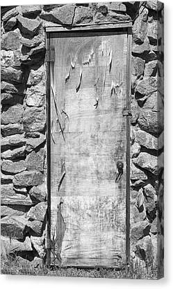 On Line Art Galleries Canvas Print - Old Wood Door  And Stone - Vertical Bw by James BO  Insogna