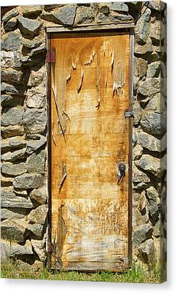 On Line Art Galleries Canvas Print - Old Wood Door And Stone - Vertical  by James BO  Insogna