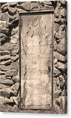 On Line Art Galleries Canvas Print - Old Wood Door  And Stone - Vertical Sepia Bw by James BO  Insogna