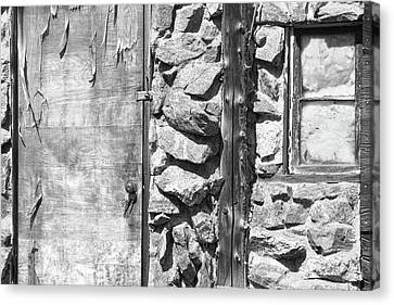 On Line Art Galleries Canvas Print - Old Wood Door Window And Stone In Black And White by James BO  Insogna