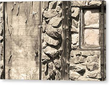 On Line Art Galleries Canvas Print - Old Wood Door Window And Stone In Sepia Black And White by James BO  Insogna