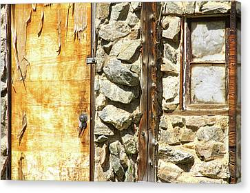 On Line Art Galleries Canvas Print - Old Wood Door Window And Stone by James BO  Insogna