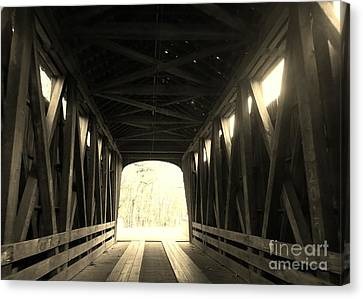 Southern Indiana Autumn Canvas Print - Old Wooden Covered Bridge - Southern Indiana - Sepia by Scott D Van Osdol