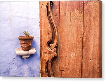 Catherine White Canvas Print - Old Wooden Door In Arequipa by Jess Kraft