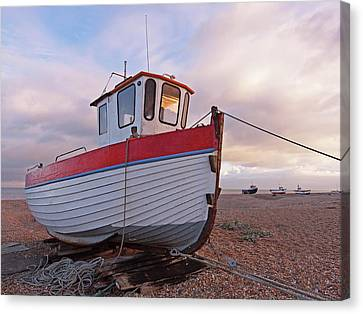 Old Wooden Fishing Boat Home By Sunset Canvas Print