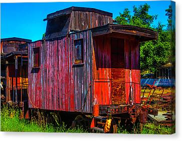 Old Wooden Red Caboose Canvas Print