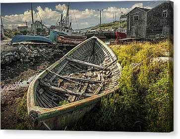 Old Wooden Row Boat In The Harbor At Peggy's Cove Canvas Print by Randall Nyhof