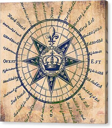 Antique Map Canvas Print - Old World Compass by Brandi Fitzgerald