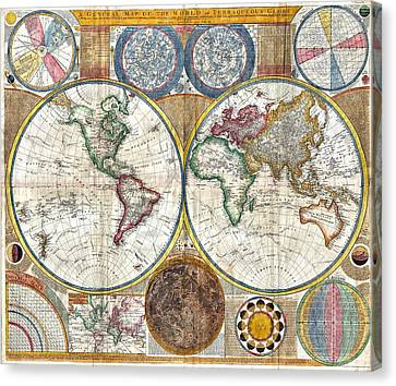 Old World Map Print From 1794 Canvas Print