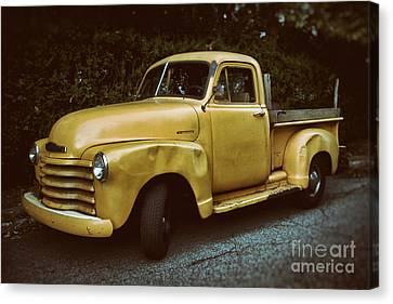 Pickup Truck Door Canvas Print - Old Yellow Pickup by Mark Miller