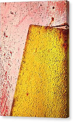 Metallic Sheets Canvas Print - Old Yellow Plate On Red by Jozef Jankola