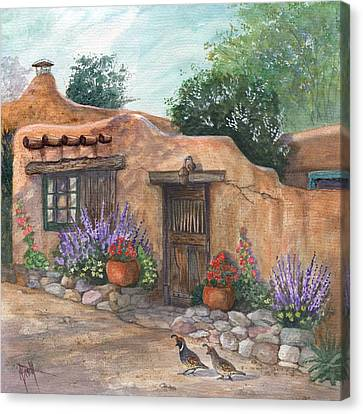 Canvas Print featuring the painting Old Adobe Cottage by Marilyn Smith