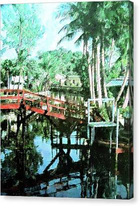 Florida Bridge Canvas Print - Olde Cypress Gardens by Florene Welebny