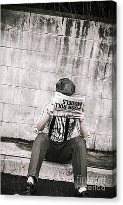 Olden Day Man Reading Newspaper Tabloid Canvas Print by Jorgo Photography - Wall Art Gallery