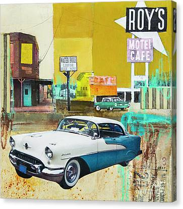 Canvas Print featuring the mixed media Oldsmobile by Elena Nosyreva