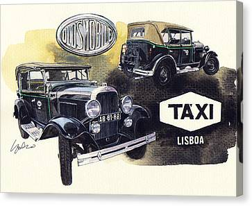 Oldsmobile F28 The Oldest Lisbon Taxi Canvas Print