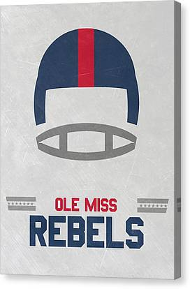 Benches Canvas Print - Ole Miss Rebels Vintage Football Art by Joe Hamilton