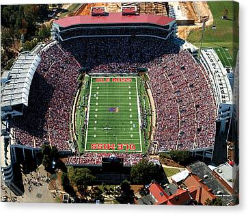 Ole Miss Vaught-hemingway Stadium Aerial View Canvas Print by University of Mississippi - Imaging Services - Athletics