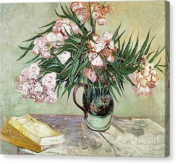 Oleanders And Books Canvas Print by Vincent van Gogh