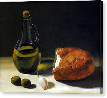 Olive Oil And Bread Canvas Print