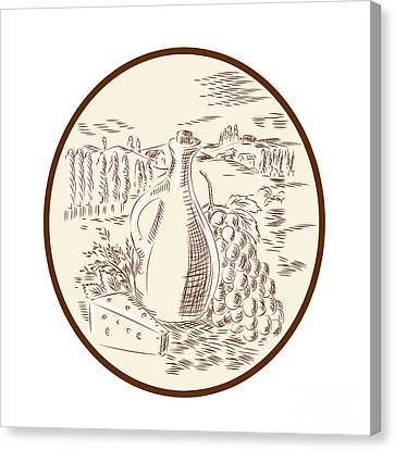 Olive Oil Jar Cheese Tuscan Countryside Etching Canvas Print by Aloysius Patrimonio