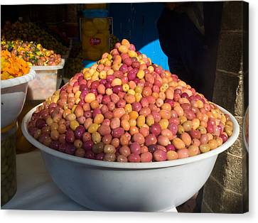 Olives For Sale In Market, Essaouira Canvas Print by Panoramic Images