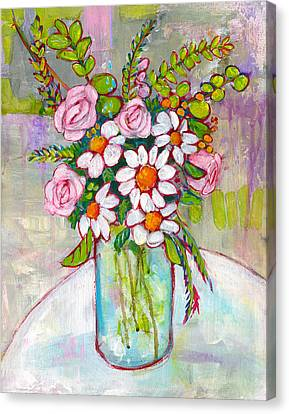 Spring Flowers Canvas Print - Olivia Daisy Flowers by Blenda Studio