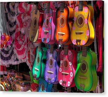 Olvera Street Ukeleles Canvas Print by Richard Hinds