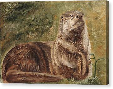 Olympia River Otter Canvas Print by Angeles M Pomata