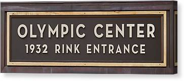 Olympic Center 1932 Rink Entrance Canvas Print by Stephen Stookey