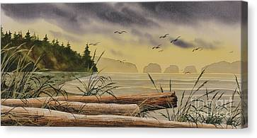 Canvas Print featuring the painting Olympic Seashore Sunset by James Williamson