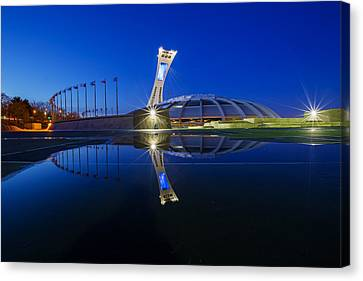 Olympic Stadium Reflection Canvas Print by Mircea Costina Photography