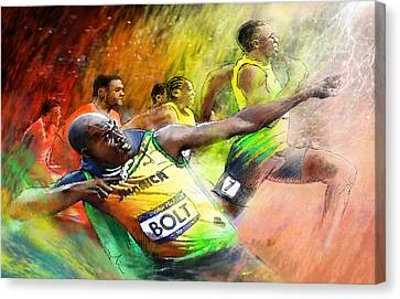 Sprinter Canvas Print - Olympics 100 M Gold Medal Usain Bolt by Miki De Goodaboom