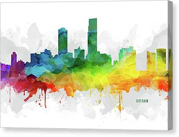 Omaha Skyline Mmr-usneom05 Canvas Print by Aged Pixel