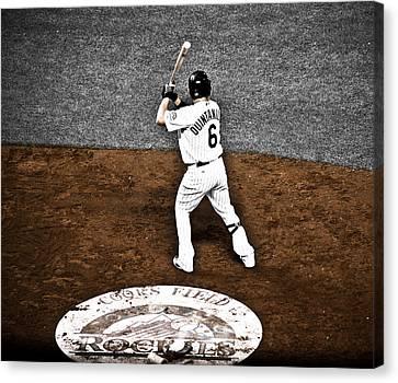 Omar Quintanilla Pro Baseball Player Canvas Print by Marilyn Hunt