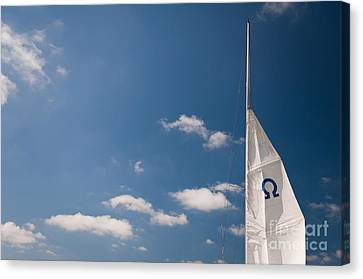Sail Cloth Canvas Print - Omega Symbol On Mast by Arletta Cwalina