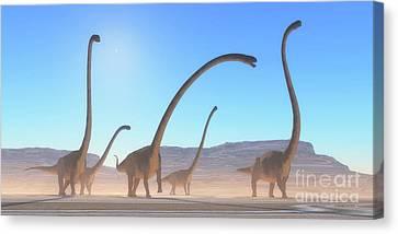 Omeisaurus Dinosaur Desert Canvas Print