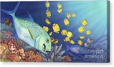 Omilu Bluefin Trevally Canvas Print by Tammy Yee