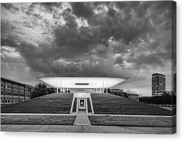 Ominous Clouds Over The James Turrell Skyscape  Twilight Epiphany - Rice University Houston Texas Canvas Print