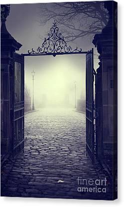 Gatepost Canvas Print - Ominous Gateway On A Foggy Night  by Lee Avison