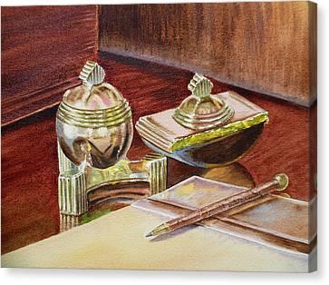 On A Desk At Eugene O Neill Tao House Canvas Print by Irina Sztukowski