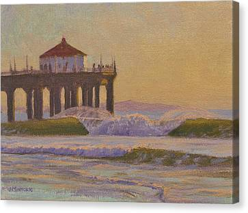Surfing Art Canvas Print - On A Warm Winter Evening by Joe Mancuso