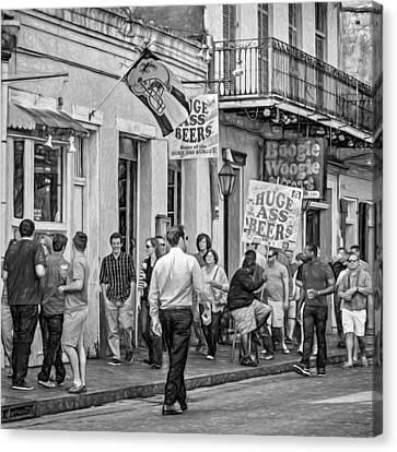 On Bourbon Street - Paint Bw Canvas Print