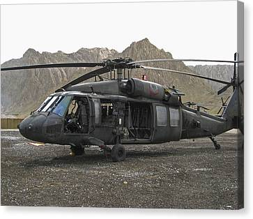 On Call Blackhawk In Afghanistan Canvas Print by David M Porter