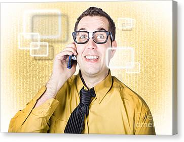 On Call It Consultant Giving Network Advice Canvas Print by Jorgo Photography - Wall Art Gallery