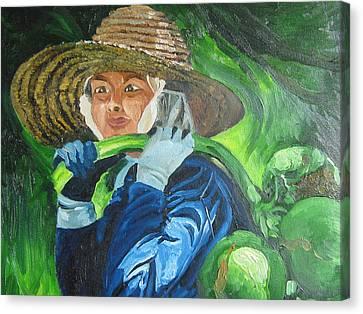 On Coconut Farm Canvas Print