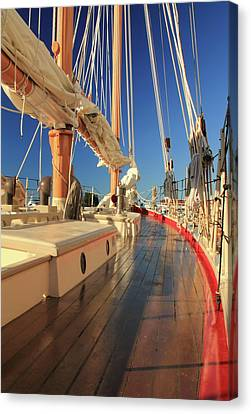 Canvas Print featuring the photograph On Deck Of The Schooner Eastwind by Roupen  Baker