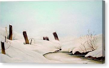 On Frozen Pond Canvas Print by Anna-maria Dickinson